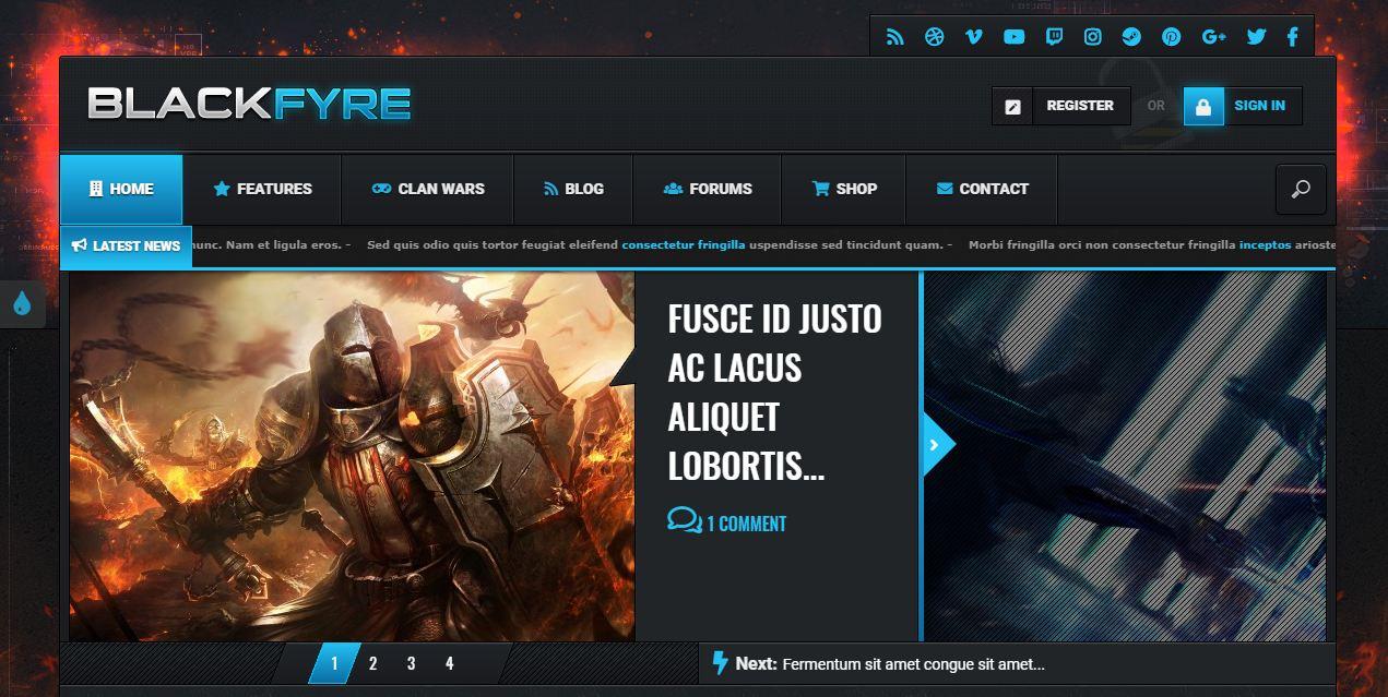 Blackfyre - mẫu website giới thiệu game cao cấp