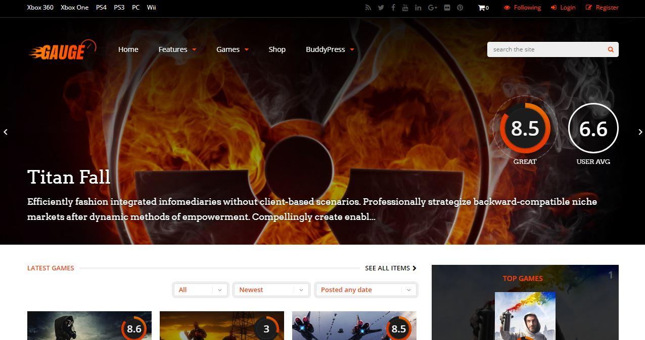 Gauge - mẫu website giới thiệu game đa năng